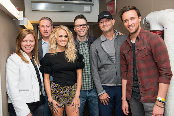 Pictured (L-R):  Arista Nashville VP Promotion Lesly Simon; Justin Cole, Director of Country Programming, Premiere Networks; Bobby Bones; Rod Phillips, Sr. VP Programming/Brand Manager, iHeartCountry; and Colton Bradford, WBWL Boston night show host. Photo:  Todd Owyoung