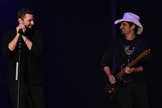Brad Paisley joins Chris Young at show at Nashville's Ascend Amphitheater on September 30, 2015. Photo: Rick Diamond/Getty Images for Sony Music Nashville