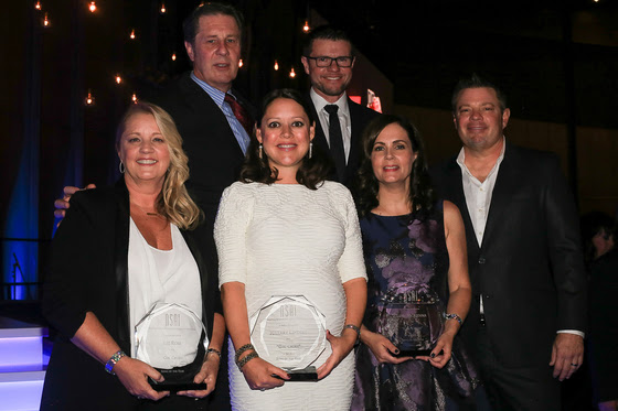 """Pictured (L-R): Back row NSAI Executive Director Bart Herbison and NSAI president Lee Thomas Miller.  Front Row (L-R): Liz Rose, Hillary Lindsey and Lori McKenna (Song of the Year for """"Girl Crush"""") and NSAI Songwriter of the Year Rodney Clawson."""