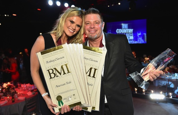 Pictured (L-R): Nicolle Galyon and Rodney Clawson at the BMI Country Awards. Photo: BMI.com