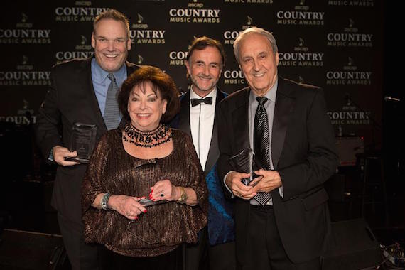 Pictured (L-R):  Bill Mayne, Executive Director, CRS; Judy Harris, Judy Harris Music; Barry Coburn, ASCAP Board Member; Charlie Monk, Monk Family Music. (Photo: Ed Rode for ASCAP)