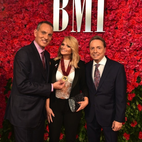 Pictured (L-R): President and CEO of BMI, Michael O'Neill, MIranda Lambert, and BMI Vice President, Writer/Publisher Relations, Nashville, Jody Williams