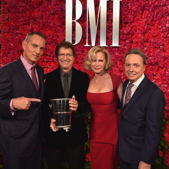 Pictured: (L-R): BMI's Mike O'Neill, BMI songwriter and Icon Mac Davis with his wife Lise Davis and BMI's Jody Williams. Photo: John Shearer