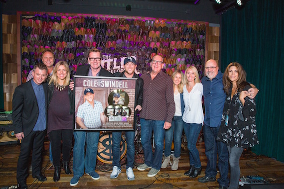 Pictured (L-R): WMN: Justin Luffman, VP Brand Management; Scott Hendricks, EVP A&R; Katie Bright, Director, National Promotion; Peter Strickland, EVP & GM; Cole Swindell; John Esposito, President & CEO; Cris Lacy, VP A&R; Kristen Williams, VP Promotion; Kevin Herring, SVP Promotion; KP Entertainment: Kerri Edwards. Photo: Joseph Llanes