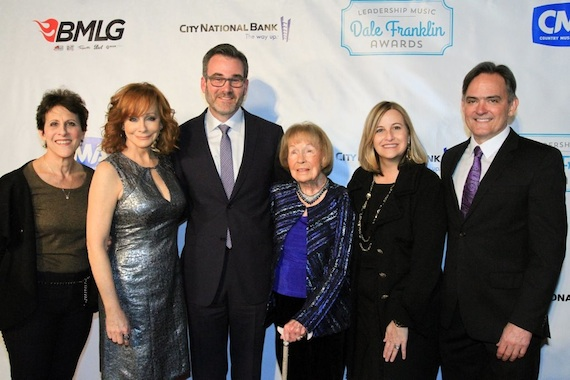 Leadership Music Dale Franklin Awards. Pictured (L-R): Debbie Linn, Leadership Music; Reba, Steve Buchanan, and Jo Walker-Meador, honorees; Nashville Mayor Megan Barry; Mike Craft, Leadership Music.