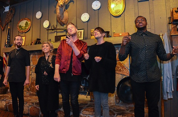 Pentatonix sing at Cracker Barrel. Photo: Monarch Publicity.