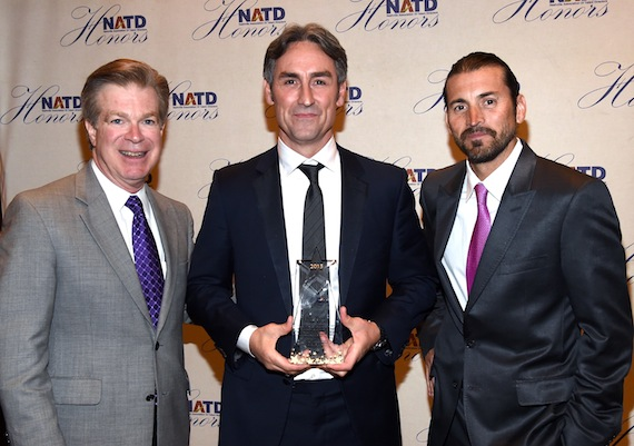 Pictured (L-R): Steve Tolman, NATD President, Mike Wolfe; Shaun Silva, Tacklebox Films. Photo by Rick Diamond/Getty Images for NATD