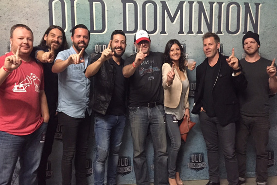Pictured (L-R): RCA Records National Director of Promotion Josh Easler; Old Dominion's Geoff Sprung, Brad Tursi, and Matthew Ramsey; WSOC/Charlotte OM/PD DJ Stout; WSOC Integrated Marketing Consultant Krista Stout; and Old Dominion's Trevor Rosen and Whit Sellers. Photo: Sony Music