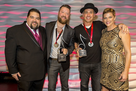 Pictured (L-R): SESAC's Tim Fink, Cary Barlowe, Wyatt Durrette and SESAC's Shannan Hatch. Photo: Ed Rode