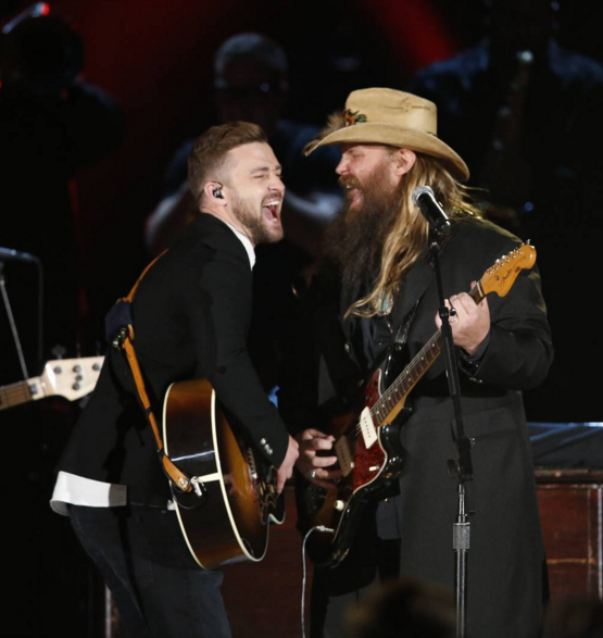 Justin Timberlake and Chris Stapleton perform during the Country Music Association Awards. Photo: CMA/Instagram