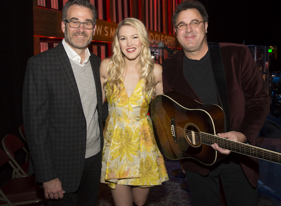 Pictured (L-R): Steve Buchanan, EVP Ryman Hospitality Properties/President Opry Entertainment Group; Ashley Campbell; Vince Gill