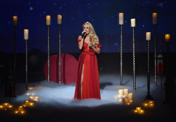 "Carrie Underwood performs ""Heartbeat"" on the American Music Awards. Photo: American Music Awards Instagram."
