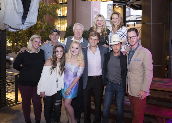 Pictured (back row L-R):  Ellen Mundy, Brad Howell, George Briner,  Ashley Sidoti and Amy Staley. (front row L-R): ara Thompson, RaeLynn, Levi Hummon, Justin Moore and The Valory Music Co.'s Bradford Hollingsworth