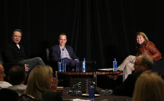 Pictured (L-R) Robert Deaton, Executive Producer of CMA television properties; Rob Mills, ABC Senior Vice President of Alternative Series, Specials, and Late-Night Programming; Sarah Trahern, CMA Chief Executive Office. Photo Credit: Christian Bottorff / CMA