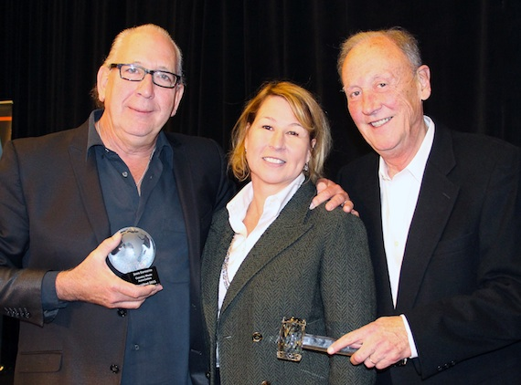 Pictured (L-R): John Esposito, CMA Board President and incoming Chairman, and President and CEO of Warner Music Nashville; Sarah Trahern, CMA Chief Executive Officer; Frank Bumstead, CMA Board Chairman and Chairman of Flood, Bumstead, McCready & McCarthy, Inc.