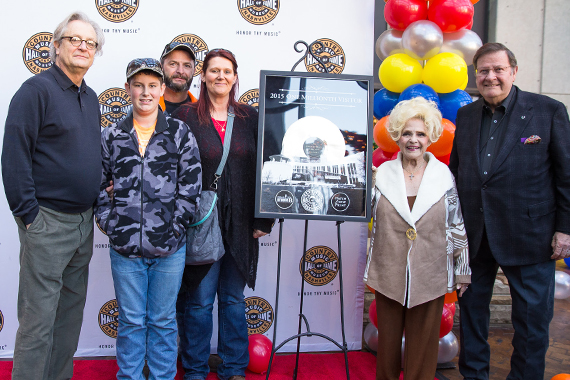 Pictured (L-R): CMHoF CEO, Kyle Young; one millionth winners Hunter, Andy and Laticia Davis; CMHoF Member, Brenda Lee; museum board chairman, Steve Turner. Photo: CK Photo