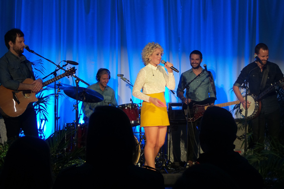 Cam with her four-person band at the Dec. 2 album launch party in Nashville.