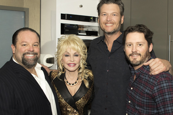 Pictured (L-R): Danny Nozell, Dolly Parton's manager/CEO CTK Management, Dolly Parton, Blake Shelton, Brandon Blackstock, Blake Shelton's manager/Starstruck Entertainment. Photo: Jeremy Westby/Webster Public Relations