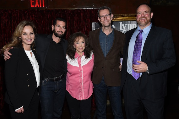 Pictured (L-R): Patsy L. Russell; Adam Block, Sony Legacy Recordings President; Loretta Lynn; Richard Story, Sony Commercial Music Group President; John Carter Cash. Photo: Gary Gershoff.