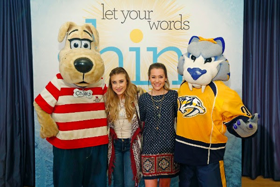 """CMA Award winners Maddie & Tae join Monroe Carell Jr. Children's Hospital at Vanderbilt and the Nashville Predators in launching the """"Shine Bright"""" campaign in Middle Tennessee. Photo: Joe Howell / Vanderbilt"""