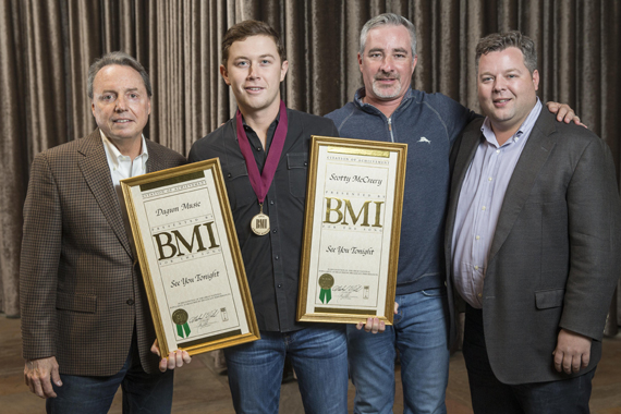Pictured (L-R): Jody Williams (BMI Vice President, Writer and Publisher Relations), Scotty McCreery, Brian Wright (UMG Nashville Senior Vice President A&R), and Bradley Collins (BMI Executive Director, Writer-Relations). Photo: John Russell