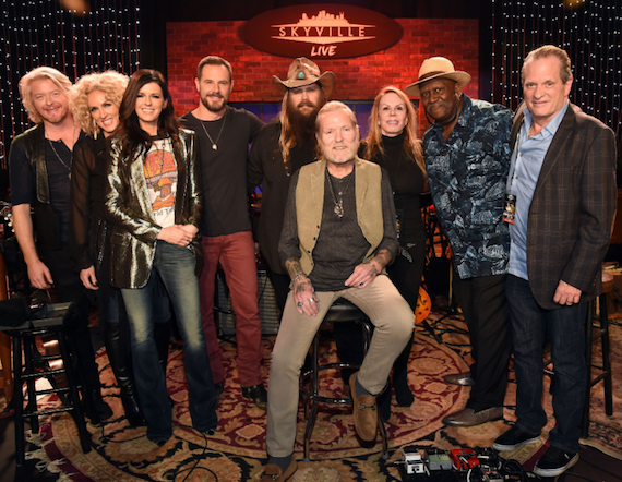 Pictured (L-R): Philip Sweet, Kimberly Schlapman, Karen Fairchild and Jimi Westbrook of Little Big Town; Chris Stapleton; Gregg Allman (seated); Tisha Fein, Skyville Live; Taj Mahal; Wally Wilson, Skyville Live. Photo: Rick Diamond, Getty Images for Skyville Live.