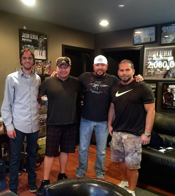 Pictured (L-R): Brady Tilow, Mickey Jack Cones, Jason Aldean, and Michael Knox at Westwood Sound Studio. Photo: Courtesy of Mickey Jack Cones.