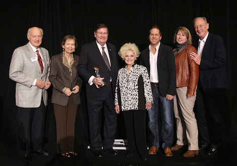 Pictured L-R: Bill Denny, lifetime CMA Board member; Judy Turner; Steve Turner; Country Music Hall of Fame member Brenda Lee; Jon Loba, CMA Awards and Recognition Committee Chairman and Executive Vice President, BBR Music Group; Sarah Trahern, CMA Chief Executive Officer; Frank Bumstead, CMA Board Chairman and Chairman, Flood, Bumstead, McCready & McCarthy, Inc. Photo Credit: Christian Bottorff/CMA