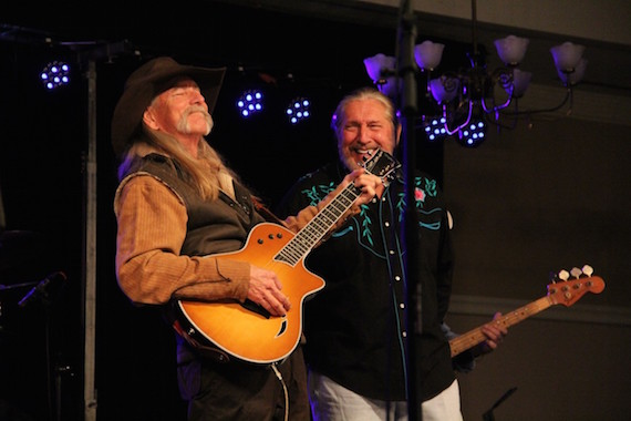 BMI songwriters Dean Dillon and The Marshall Tucker Band's Doug Gray sing together during the Mountain High Music Festival. Photo: Cole Claassen.