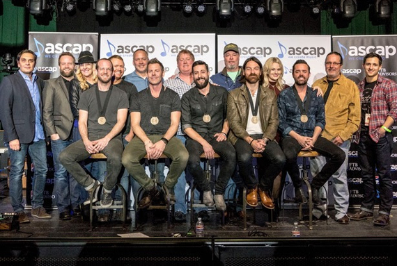Pictured (L-R) front: Old Dominion's Whit Sellers, Trevor Rosen, Matthew Ramsey, Geoff Sprung and Brad Tursi; (back) Big Deal Music's Pete Robinson, Rehits/Smacktown Music's Michael McAnally Baum and Ree Guyer Buchanan, producer Shane McAnally, RCA Nashville's Keith Gale, ASCAP's Mike Sistad, Sonic Geo Music's George Whaley, ASCAP's Beth Brinker, Music of RPM's Blake Chancey and Smacktown Music's Robert Carlton. Photo: Ed Rode for ASCAP