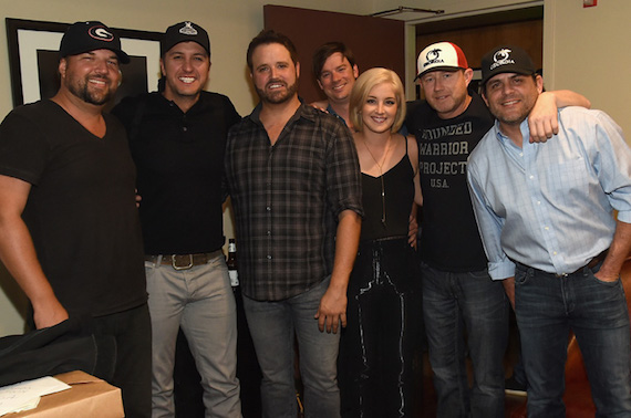 Pictured (L-R): Dallas Davidson, Luke Bryan, Randy Houser, Play It Again Music Publishing's Austin Marshall, Maggie Rose, Ben Hayslip and Rhett Akins