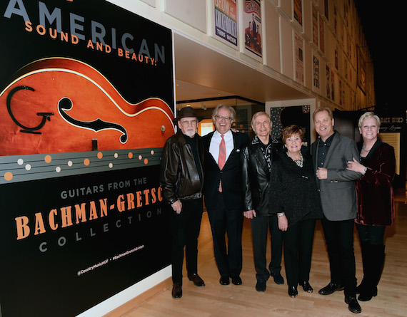 Pictured (L-R): musician Duane Eddy, Country Music Hall of Fame and Museum CEO Kyle Young, Fred and Dinah Gretsch, musician Steve Wariner, and Country Music Hall of Fame and Museum Senior Vice President of Museum Services Carolyn Tate. Photo: Rick Diamond/Getty Images