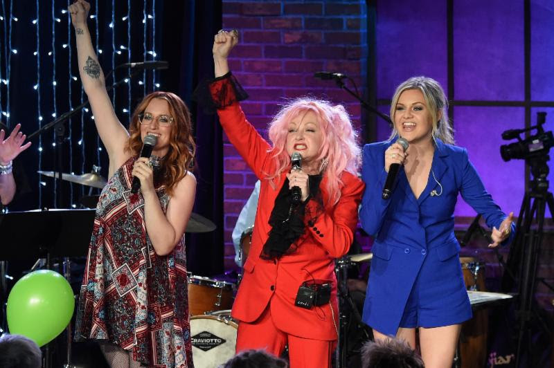 Pictured (L-R): Ingrid Michelson, Cyndi Lauper, and Kelsea Ballerini perform on Skyville Live.