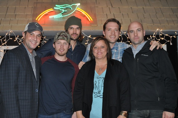 Pictured (l-r): ASCAP's Michael Martin, songwriters Jameson Rodgers, Barry Zito, Marla Cannon-Goodman and Matt Jenkins, and ASCAP's Robert Filhart.