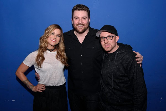 Pictured (L-R): Cassadee Pope, Chris Young and Adam Weiser (AEG Live). Photo: Matthew Eisman/Getty Images for Monarch Publicity