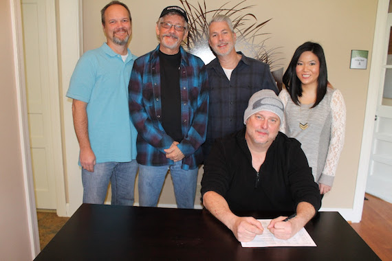 Pictured (L-R): Jason Campbell and Keith Stegall,  Dreamlined Entertainment Group; Neal Coty and Hannah Gilbert, Dune Grass Music; Brian Maher, Dreamlined Entertainment Group/Dune Grass Music.
