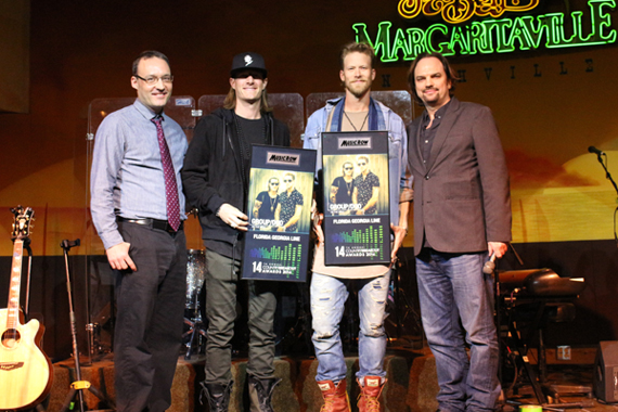 Pictured (L-R): MusicRow's Craig Shelburne, FGL's Tyler Hubbard and Bryan Kelley, and MusicRow's Sherod Robertson