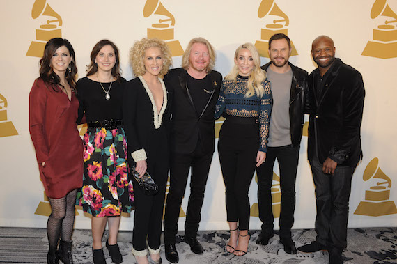 Pictured (L-R): GRAMMY nominee Karen Fairchild of Little Big Town, Recording Academy Nashville Chapter Executive Director, Alicia Warwick; GRAMMY nominee Kimberly Schlapman and Phillip Sweet of Little Big Town; GRAMMY nominee Ashley Monroe; GRAMMY nominee Jimi Westbrook of Little Big Town and Recording Academy Nashville Chapter President, Shannon Sanders.