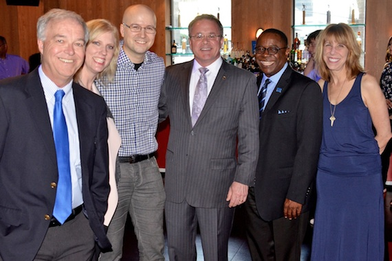 Pictured (L-R): Ken Paulson, dean of the College of Media and Entertainment; Beverly Keel, chair of the Recording Industry department; Laird; alumnus Pete Fisher, general manager of the Grand Ole Opry; MTSU President Sidney A. McPhee; and Erika Wollam Nichols, general manager of The Bluebird Café. Photo: Andrew Oppmann
