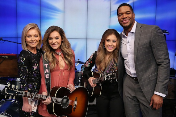Pictured (L-R): Kelly Ripa, Tae Dye and Maddie Marlow of Maddie & Tae, Michael Strahan. Photo: David M. Russell, Disney/ABC Home Entertainment and TV Distribution