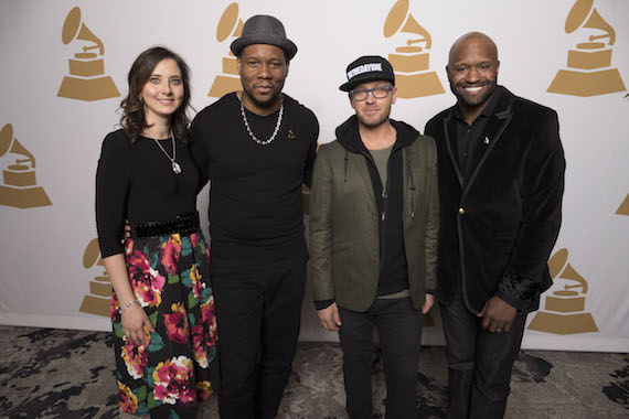 Pictured (L-R): Recording Academy Nashville Chapter Executive Director, Alicia Warwick; GRAMMY nominee Mr. Talkbox; GRAMMY nominee TobyMac and Recording Academy Nashville Chapter President, Shannon Sanders.