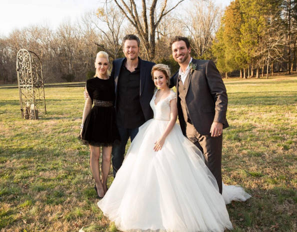 Pictured (L-R): Gwen Stefani, Blake Shelton, RaeLynn, Josh Davis. Photo: RaeLynn/Instagram.