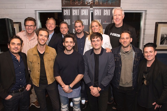 "(L-R): Back Row – Producer Dann Huff, EMI Blackwood's Troy Tomlinson, BMI's Jody Williams, Warner Chappell's Marc Wilson, BMI's Leslie Roberts, The Valory Music Co.'s George Briner Front Row – Big Deal Music's Pete Robinson, ""Die A Happy Man"" songwriter Sean Douglas, Thomas Rhett, ""Die A Happy Man"" songwriter Joe London, Big Deal Music's Casey Robinson, Producer/""Crash And Burn"" songwriter Jesse Frasure"