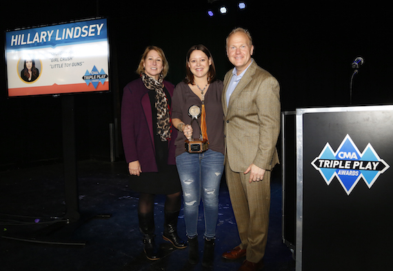 Pictured (L-R): Sarah Trahern, CMA Chief Executive Officer; Triple Play Award recipient and reigning CMA Song of the Year Award winner Hillary Lindsey; and host Troy Tomlinson, President and CEO of Sony/ATV Music Publishing. Photo: Donn Jones / CMA