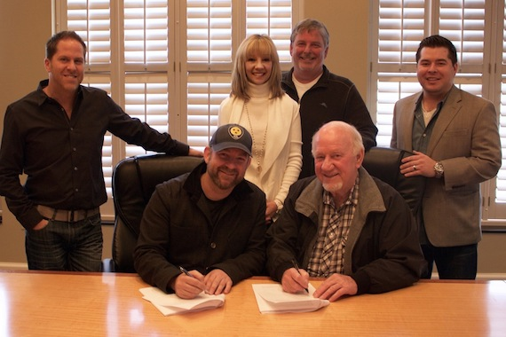 Pictured (L-R, Bottom Row): Kristian Bush; BBR Music Group CEO/President Benny Brown; (Top Row) BBR Music Group EVP Jon Loba; Wheelhouse Records VP Promotion Teddi Bonadies; BBR Music Group SVP Promotion Carson James; BBR Music Group Legal & Financial Affairs Colton McGee