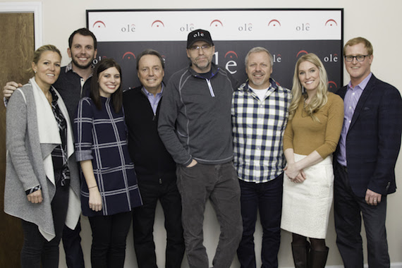 Pictured (L-R): Leslie Roberts, Director, BMI;  Ben Strain, Creative Director, ole; Emily Mueller, Creative Manager, ole; Jody Williams, VP, BMI; songwriter Tony Martin, Mike Whelan, Sr. Creative Director, ole;  Shellien Kinsey, Creative Coordinator, ole;  John Ozier, GM Creative, ole.