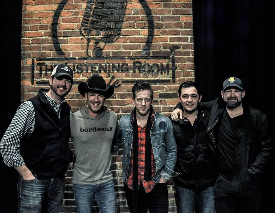 Pictured (L-R):  Listening Room owner Chris Blair, Craig Campbell, Keifer Thompson, Cole Taylor, and Kristian Bush. Photo: Ken Calcaterra.