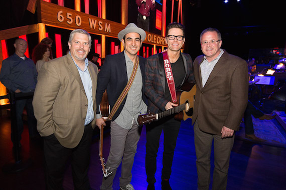 Pictured (L-R): Gordon Kerr, CEO, Black River Entertainment; Producer Eddie, Bobby Bones; Pete Fisher, VP, Grand Ole Opry.