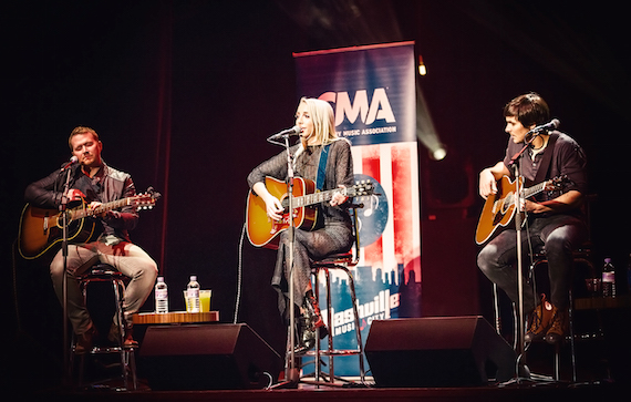 Pictured (L-R): Shane McAnally, Ashley Monroe, and Charlie Worsham perform during the CMA Songwriters Series Thursday at indigo at The O2 in London. Photo: Anthony D'Angio/CMA
