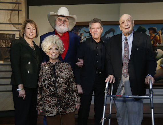 CMA CEO Sarah Trahern and Brenda Lee with inductees Charlie Daniels, Randy Travis and Fred Foster at CMA's 2016 Country Music Hall of Fame Inductees announcement on Tuesday, March 29 at the Country Music Hall of Fame and Museum in Nashville. Photo: John Russell/CMA
